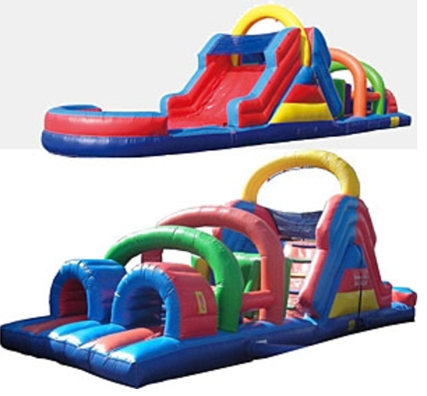 Inflatable Water Slide Rental Omaha: 44ft Obstacle Course - Bounce Houses Omaha